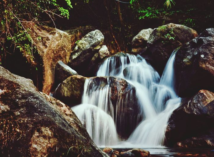 Waterfall Motion Water Scenics Nature Long Exposure Rock - Object Environment Beauty In Nature No People River Outdoors Full Frame Nikonphotography Photos Around You Travelgram Lifeporn Travel Photography Earth 🌎 Love Landscape Forest Power In Nature Day Tree