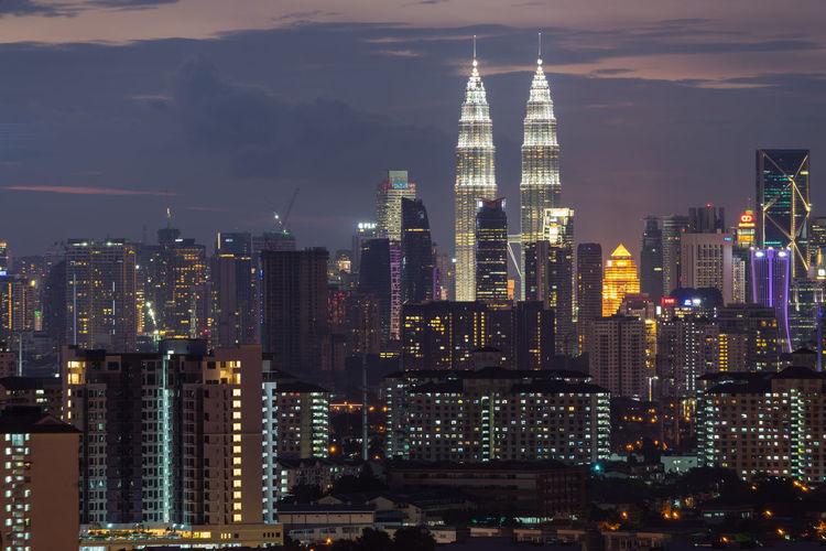 Kuala lumpur illuminated skyline at night