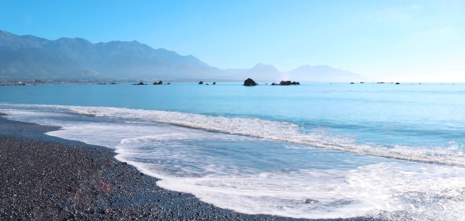 Water Sea Scenics - Nature Mountain Beauty In Nature Sky Tranquil Scene Tranquility Land Nature Day Outdoors Kaikoura Kaikoura New Zealand Waves Morning Sun Morning Blue Mountains New Zealand No People Landscape Beach Motion Wave Idyllic Sport Aquatic Sport
