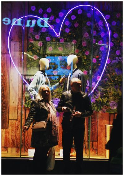 Stvalentinesday Real People Standing Leisure Activity Lifestyles Full Length Togetherness Night Two People Outdoors Arts Culture And Entertainment Illuminated People Women Men