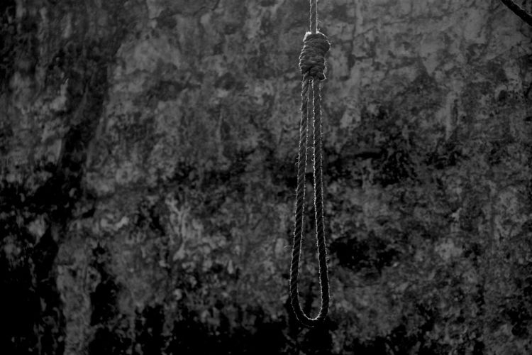 Close-up of noose hanging against rock