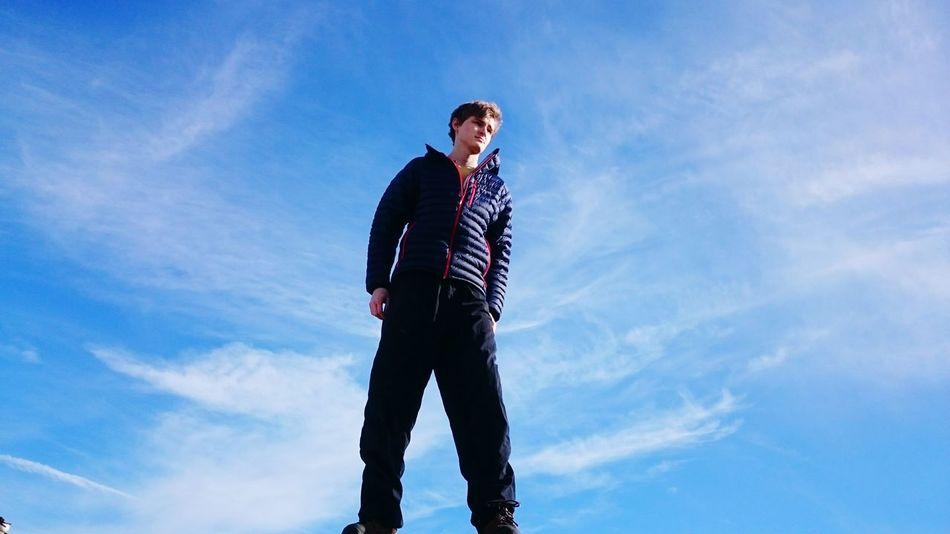 On top of the world. Climbing Portland Illegal Tresspassing For Art Tresspassing Building Bluesky Sky Clouds Whispy Clouds Boy Boyfriend