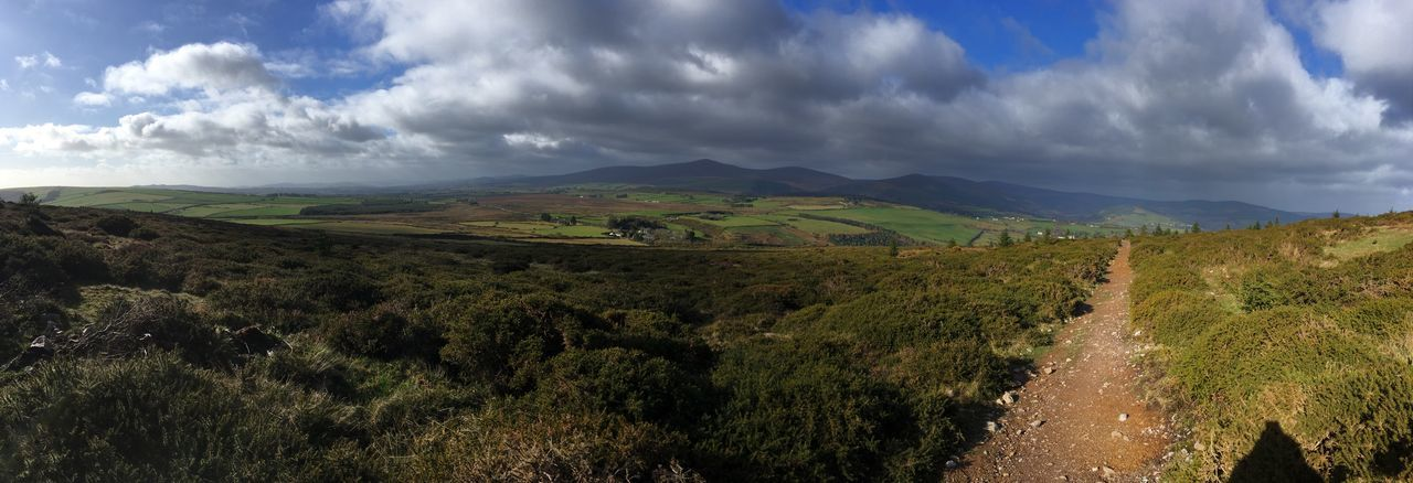 Panoramic view of the Sugar Loaf, Ireland 🇮🇪 2019 Ireland Sugar Loaf Mountain IPhoneography Environment Landscape Scenics - Nature Cloud - Sky Tranquil Scene Beauty In Nature Tranquility Agriculture Non-urban Scene Growth Nature Field Day Rural Scene Green Color Sky Mountain Land Plant Panoramic