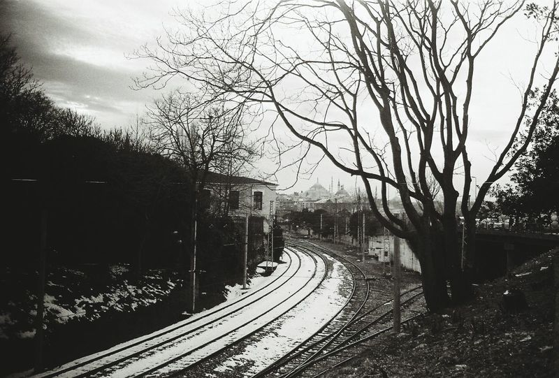 Snow ❄ Istanbuldayasam Trainway Blackandwhite Analogue Photography