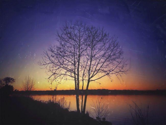 Old sunset at the lake