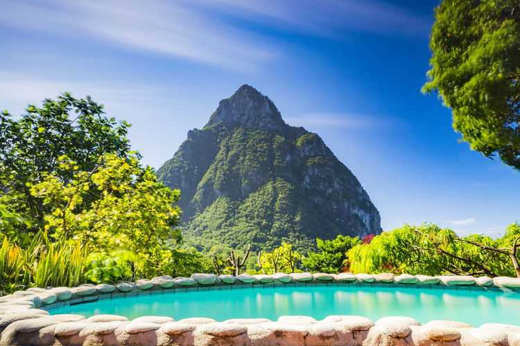 Piton and Pool, Stonefield Estate Resort, Saint Lucia Beauty In Nature Day Mountain Nature No People Outdoors Rock - Object Scenics Sky Tranquil Scene Tranquility Tree Water