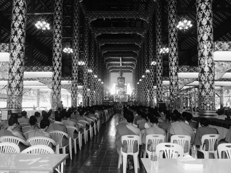In A Row Men Spirituality Indoors  Religion Place Of Worship Large Group Of People Pew Real People Day Monks In Temple Buddhist Buddhism Buddhist Temple Buddha