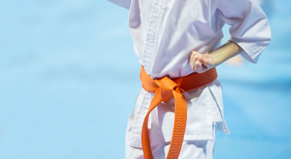 Midsection of man practicing karate