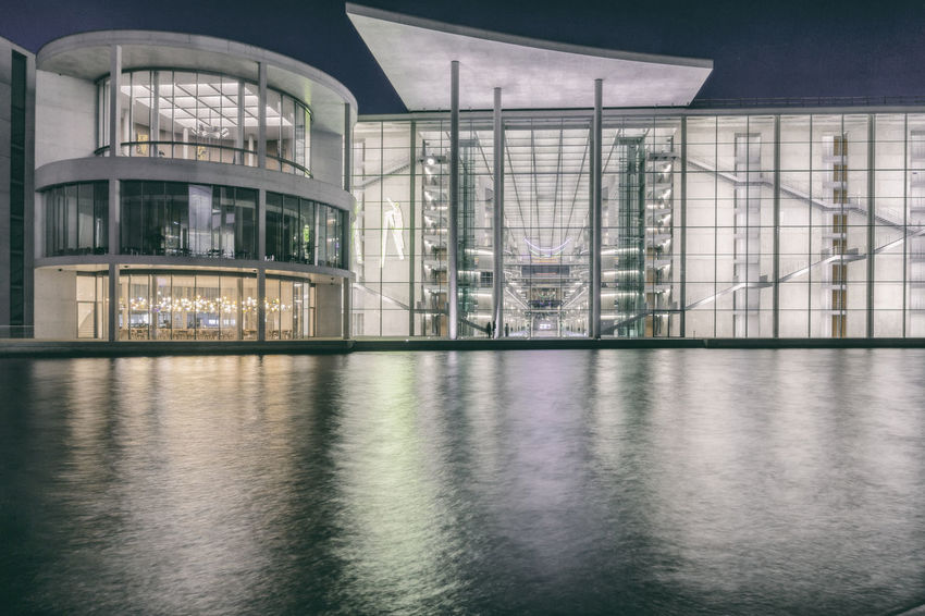 Government building - Paul-Loebe-Haus - refelcted in Spree River at night in Berlin, Germany Architecture Architecture Berlin Building Exterior Built Structure City Color Image Day Dusk Germany🇩🇪 Government Building Horizontal No People Outdoors Paul-Loebe-Haus Photography Reflection Sky Spree River Berlin
