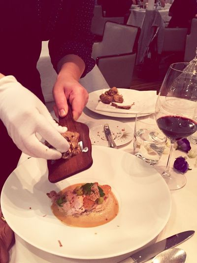 Food And Drink Human Hand Food Table One Person Plate Real People Indoors  Freshness Human Body Part Holding Lifestyles Drink Wineglass Ready-to-eat Eating Alba White Truffle Michelin Star