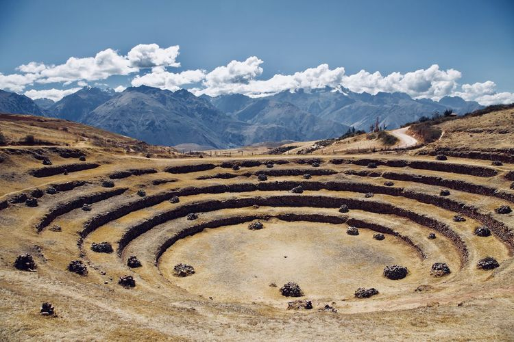 High angle view of ancient civilization against mountains