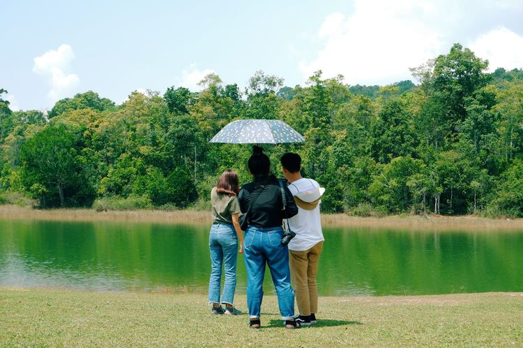 Rear view of people in lake against trees