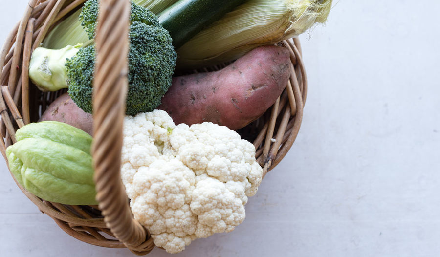 Close-up of vegetables in wicker basket