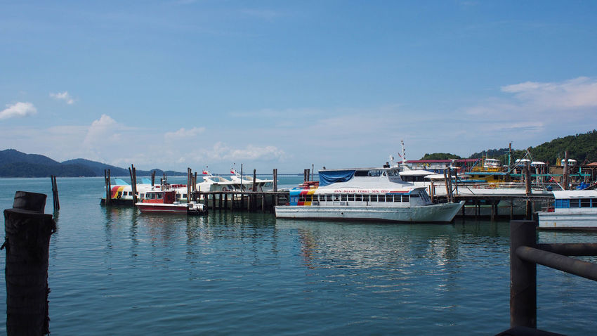 Pangkor Island Jetty, The main entrance to this island tour Ferry Islands Ocean View Pangkor Island Beauty In Nature Blue Blue Sky Cloud - Sky Day Harbor Island Jetty Jetty View Malaysia Mode Of Transport Nature No People Scenics Sea Sky Tourism Tranquility Transportation Water Waterfront