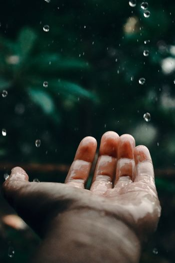 Close-up of hand on water