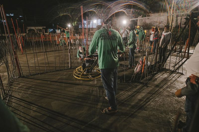 People working at night