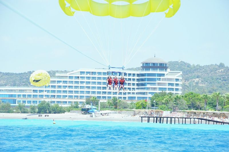With my cousins Parachute Sea Sightseeing Turkey .