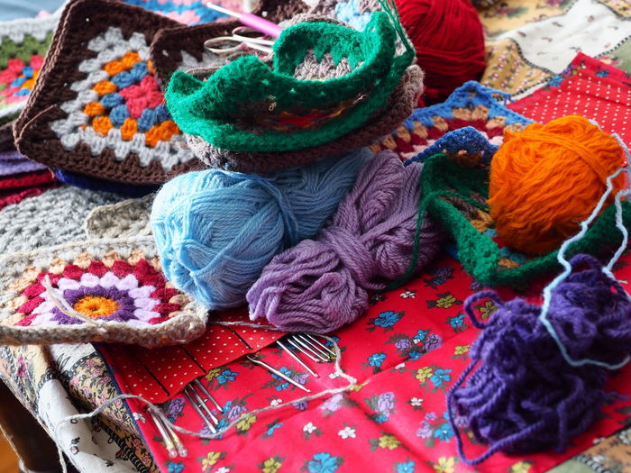 Close-Up Of Knitting Equipment On Table