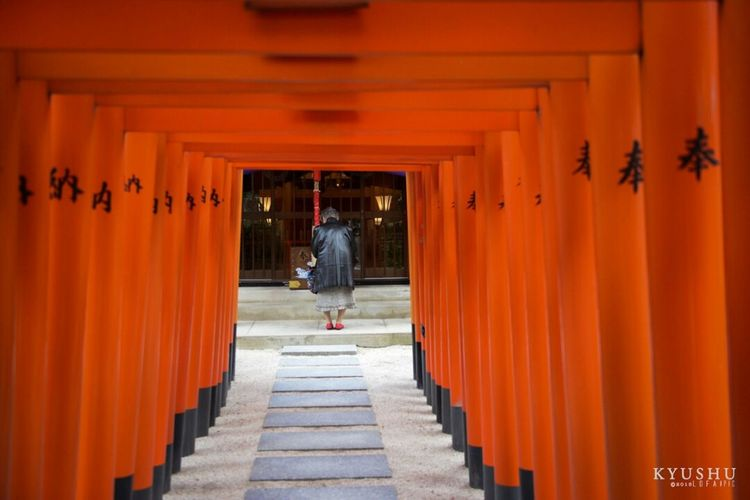 Architecture Built Structure The Way Forward Orange Color Architectural Column Architecture Rear View Outdoors Day Real People Men One Person Nature People religion Miles Away
