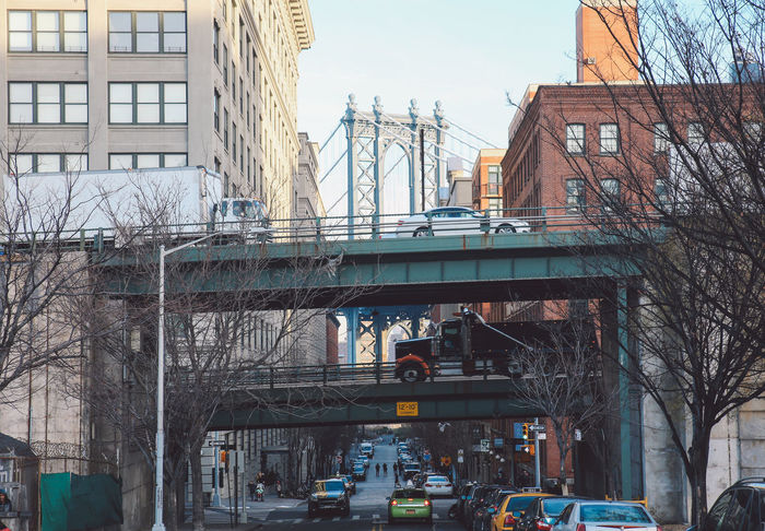 Architecture Bare Tree Bridge Bridge - Man Made Structure Building Exterior Built Structure Business Finance And Industry City Day DUMBO, Brooklyn Manhattan Manhattan Bridge New York New York City No People Outdoors Transportation Winter