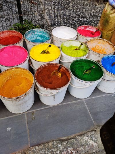 Powder Paint Multi Colored Choice Variation High Angle View Art And Craft Close-up