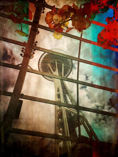 Cityscapes Space Needle Framing One Seattle Classic With Another