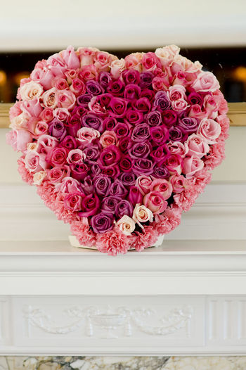 Wedding flower decorations Heart Love Heart Shape Rose - Flower Wedding Ceremony Elegant Celebration Wedding Centrepiece Decoration Freshness Flower Head Pink Color Flower Bouquet Close-up Red Cream Colour Nature Flowers