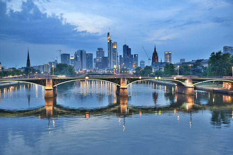 Cityscape Frankfurt Frankfurt Am Main Nightphotography Wolkenkratzer Architecture Bridge Bridge - Man Made Structure Building Building Exterior Built Structure Bulb Bulbs City Cityscape cityscapes Connection Langzeitbelichtung Nature No People Outdoors River Sky Water Waterfront