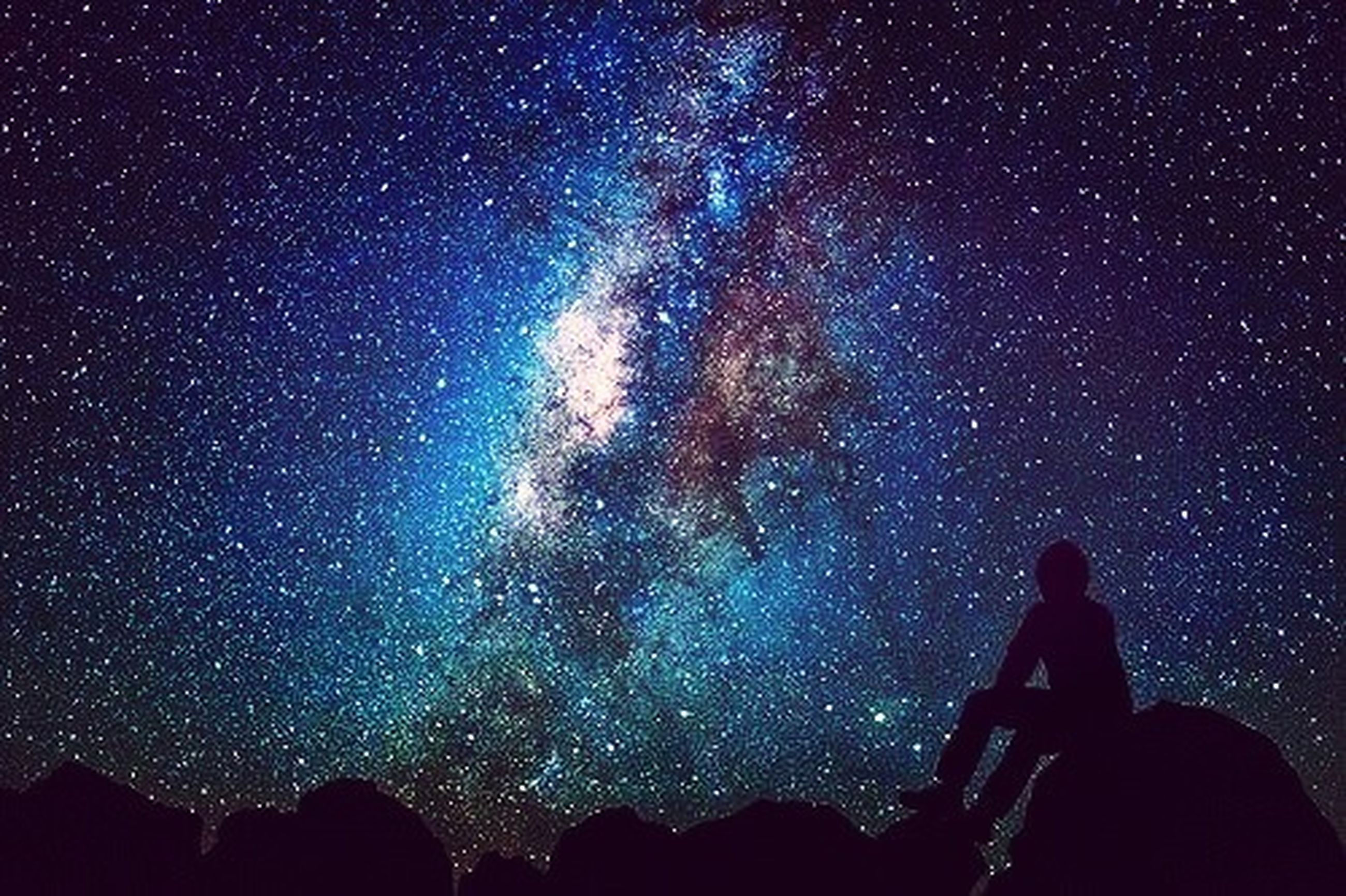 night, silhouette, star - space, star field, low angle view, men, dark, exploration, sky, leisure activity, galaxy, lifestyles, astronomy, standing, scenics, unrecognizable person, milky way, beauty in nature