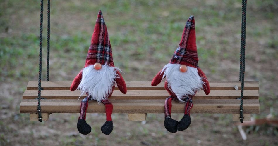 swinging duo Swing Swinging Elf Soft Toys Toys Color colour of life Playground Equipment Playground Sitting Couple EyeEm Selects Bearded Beards Beard Pointed Hat Garden Cute Tartan Slatted Seat Legs Protection Christmas Decoration Rope Swing Outdoor Play Equipment
