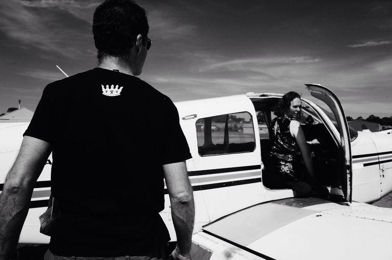 Pilot and co-pilot talking pre-flight checks, Schofields Flying Club, Bankstown. Black And White
