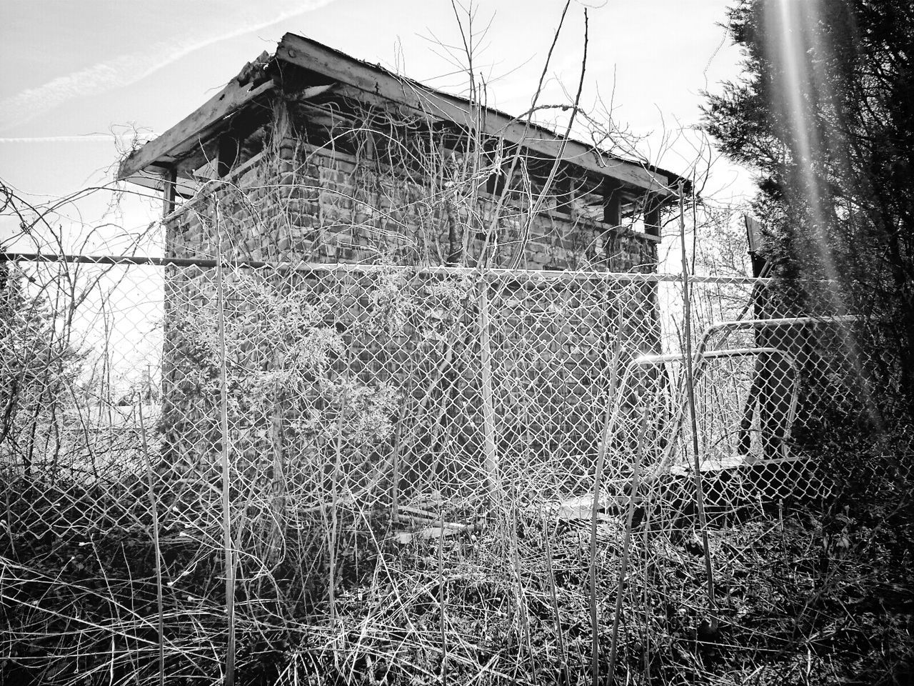 Shed Behind Chain Link Fence