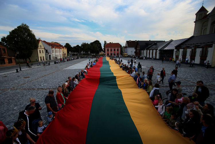 Kedainiai Old Town Lithuania Patriotism Building Building Exterior Built Structure Country Day Day Flag Group Of People Large Group Of People Lifestyles Lithuania Travel Sky