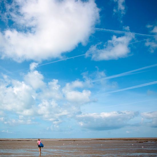 Alone Bretagne Beach Beauty In Nature Blue Cloud - Sky Day Horizon Horizon Over Water Land Leisure Activity Lifestyles Low Tide Nature One Person Outdoors Real People Scenics - Nature Sea Sky Standing Summer Tranquility Walking Water