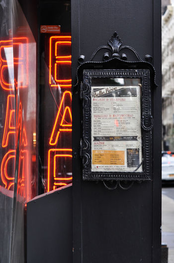 Close-up of illuminated telephone booth