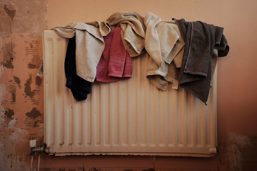 Busy - Bathroom Clothesline Clothing Drying Hanging Indoors  Laundry Material No People Old Radiator Still Life Textile Towel Wall - Building Feature