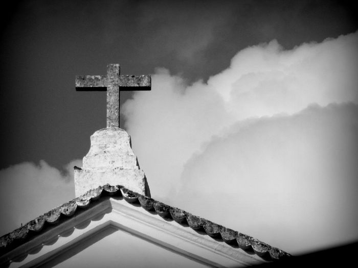 Beauty In Nature Church Cloud Cloud - Sky Clouds And Sky Cloudy Cross Day High Section Low Angle View Low Angle View Mountain Nature No People Outdoors Overcast Rooftop Scenics Season  Sky Stone Cross Street Photographer-2016 Eyem Awards Tranquil Scene Tranquility Weather