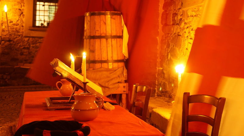Dinner Time Botte Candle Chair Drinking Glass Flame Historical Illuminated Medioeval Medioeval Cities Wine