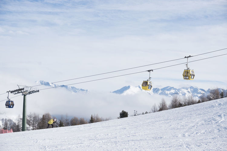 Adventure Beauty In Nature Cable Cloud - Sky Cold Temperature Day Hanging Landscape Mode Of Transport Mountain Nature No People Outdoors Overhead Cable Car Scenics Ski Holiday Ski Lift Skiing Sky Snow Transportation Tree Weather Winter