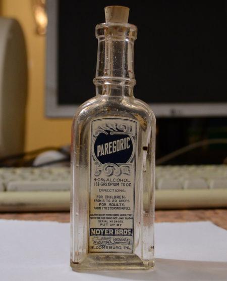 Bottle Drug Opium PainKiller Paregoric Rare XIX