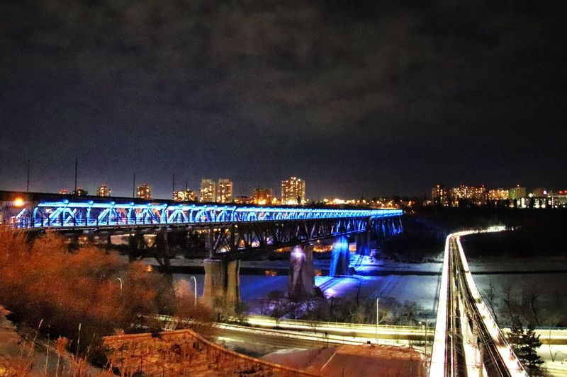 Wintertime Urban Skyline Illuminated Night Water Transportation City Mode Of Transportation Bridge - Man Made Structure River