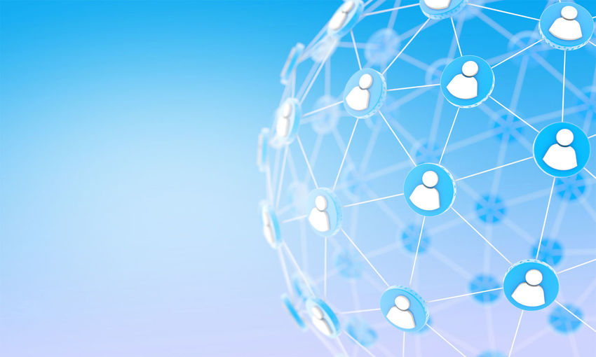 Global network connection, communication people, social media 3D render Business Social Communication Connection Global Internet Network People Team Technology