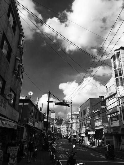 Cable Building Exterior Architecture Sky Built Structure Cloud - Sky Power Line  Street Outdoors Transportation City Day Road Electricity Pylon IPhoneography IPhone Scenics Hongje Seoul Korea