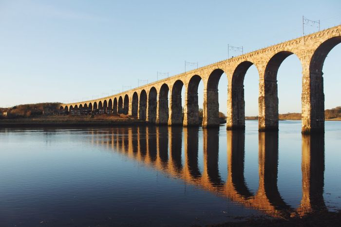 The rail bridge. Reflection Built Structure Architecture Water Bridge - Man Made Structure Waterfront Clear Sky Connection No People Outdoors Day Arch Nature Scenics Sky
