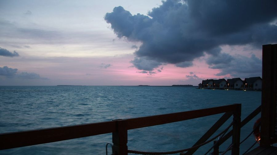 Amazing Backgrounds Beauty In Nature Clouds EyeEm Best Shots Getting Away From It All Hello World Holiday Horizon Over Water Lifestyles Maldives Miles Away Nature Ocean Railing Scenics Sea Sky Sunset Sunset_collection The Purist (no Edit, No Filter) Travel Travel Watervillage Millennial Pink