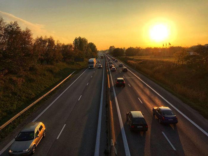 Transportation Motor Vehicle Car Road Mode Of Transportation Land Vehicle Sunset on the move Highway