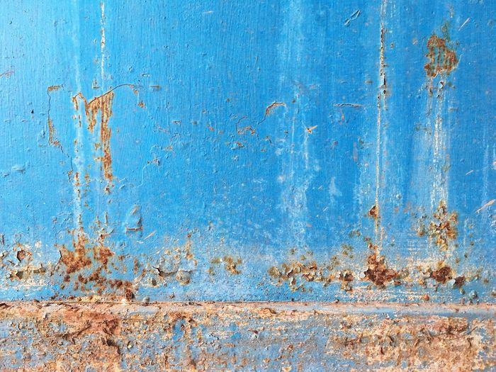 Rust on steel wall Rustic Rusty Rust Blue Backgrounds Textured  Weathered Old Full Frame No People Wall - Building Feature Wood - Material Decline Built Structure Day Pattern Rough Run-down Architecture Close-up Deterioration Bad Condition Splattered