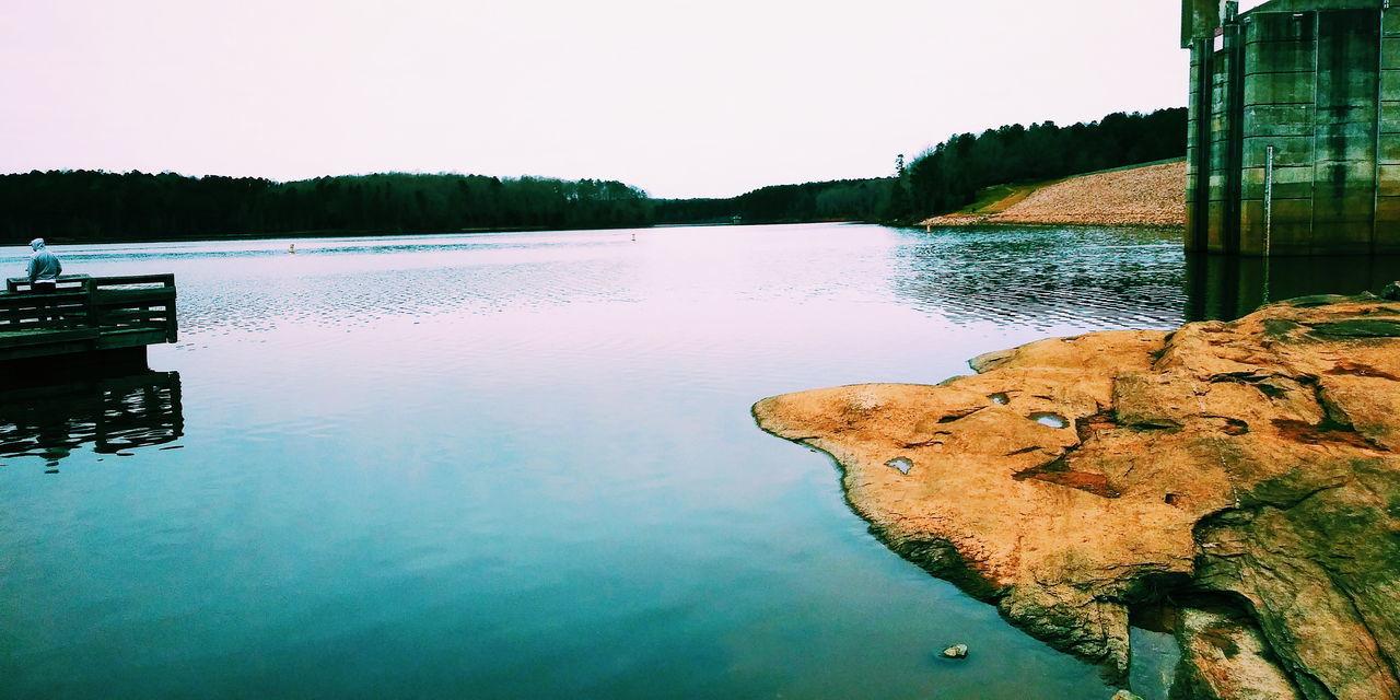 LAKE AGAINST CLEAR SKY