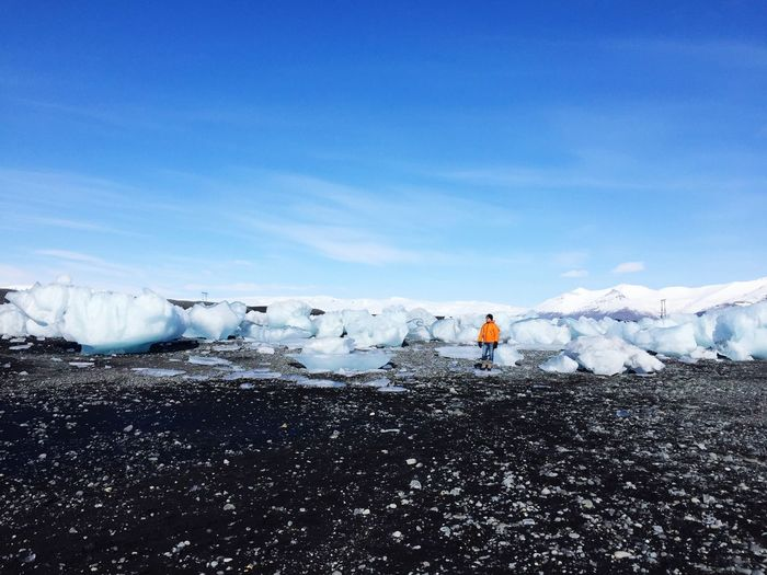 Crystal Glacier Lagoon Glacial Vulcanic Black Sand Icy Real People Winter Leisure Activity Scenics - Nature Standing Unrecognizable Person Frozen Lifestyles Inner Power Go Higher The Traveler - 2018 EyeEm Awards