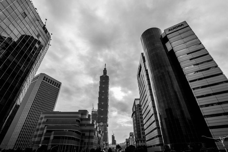Architecture Built Structure Skyscraper Tall - High City Tower Travel Destinations Blackandwhite Photography Streetphotography Tourism Taiwan Taipei,Taiwan Taipei Travel Architecture